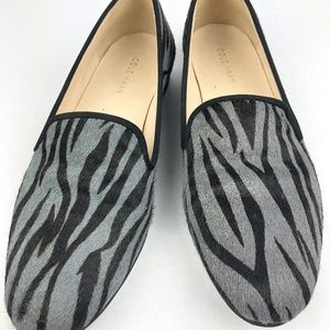 COLE HAAN Zebra Print Calf Hair Sherpa Lined loafe
